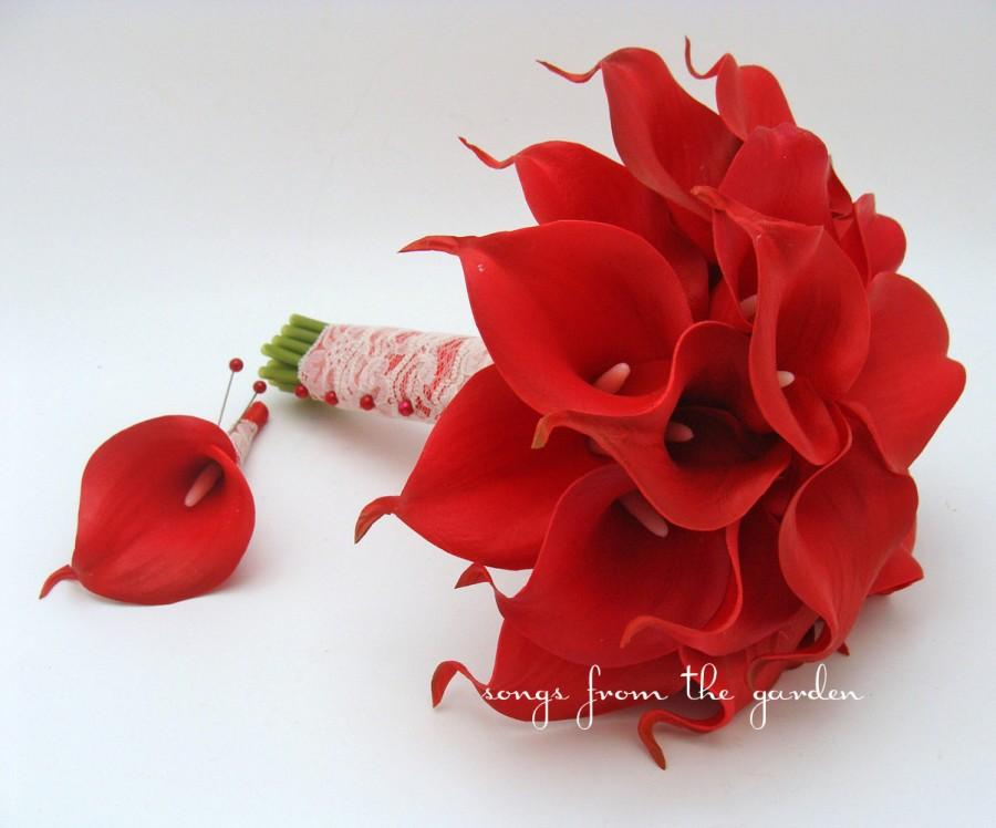 Red Real Touch Calla Lily Bridal Bouquet Groom\'s Boutonniere Red ...