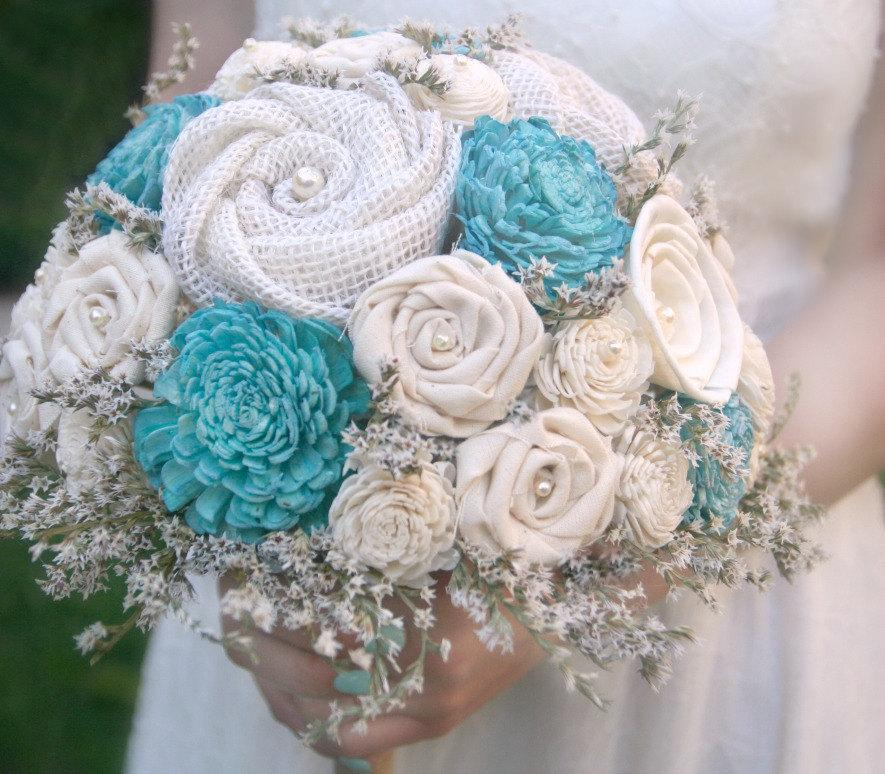Turquoise Aqua Sola Wood & Wildflower Alternative Wedding Bouquet ...