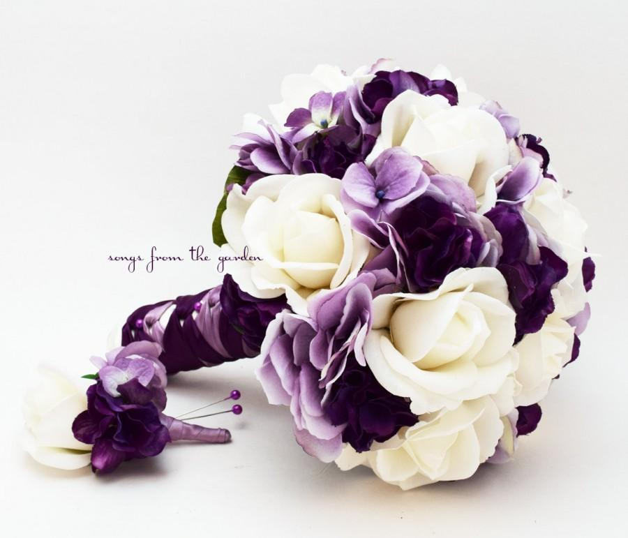 Bridal Bouquet Real Touch Roses Lavender & Purple Hydrangea Real ...