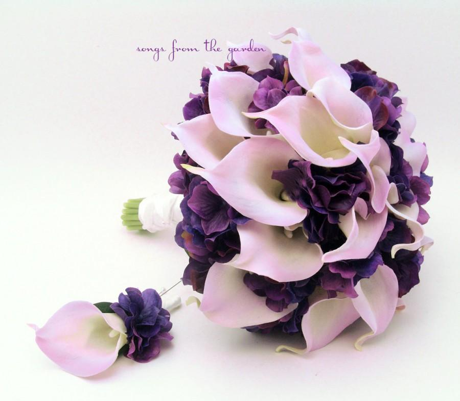 Wedding - Real Touch Calla Lily Hydrangea Bridal Bouquet Lavender and Purple with Groom's Boutonniere  - Real Touch Calla Lily Real Touch Hydrangea