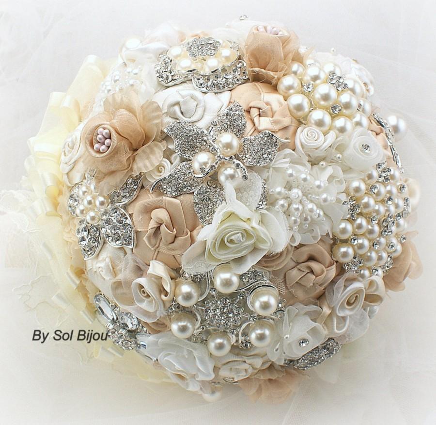 Brooch Bouquet Champagne Cream Ivory Wedding Bridal Jeweled