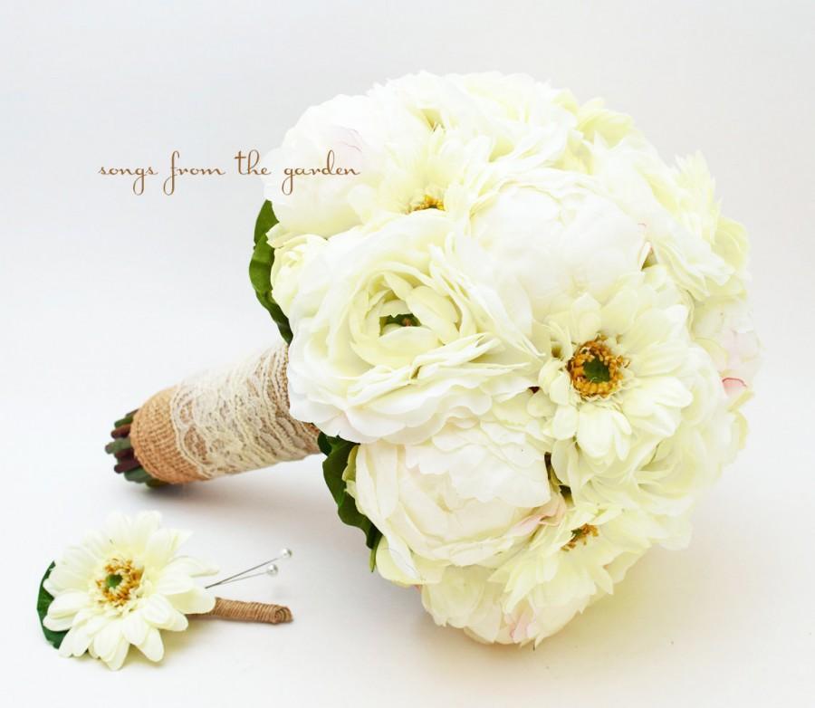 Burlap & Lace Peony Ranunculus Gerbera Silk Flower Bridal Bouquet ...