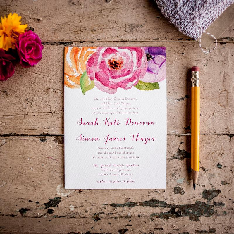 Wedding Invitation, Floral Wedding Invitation, Painted Wedding ...