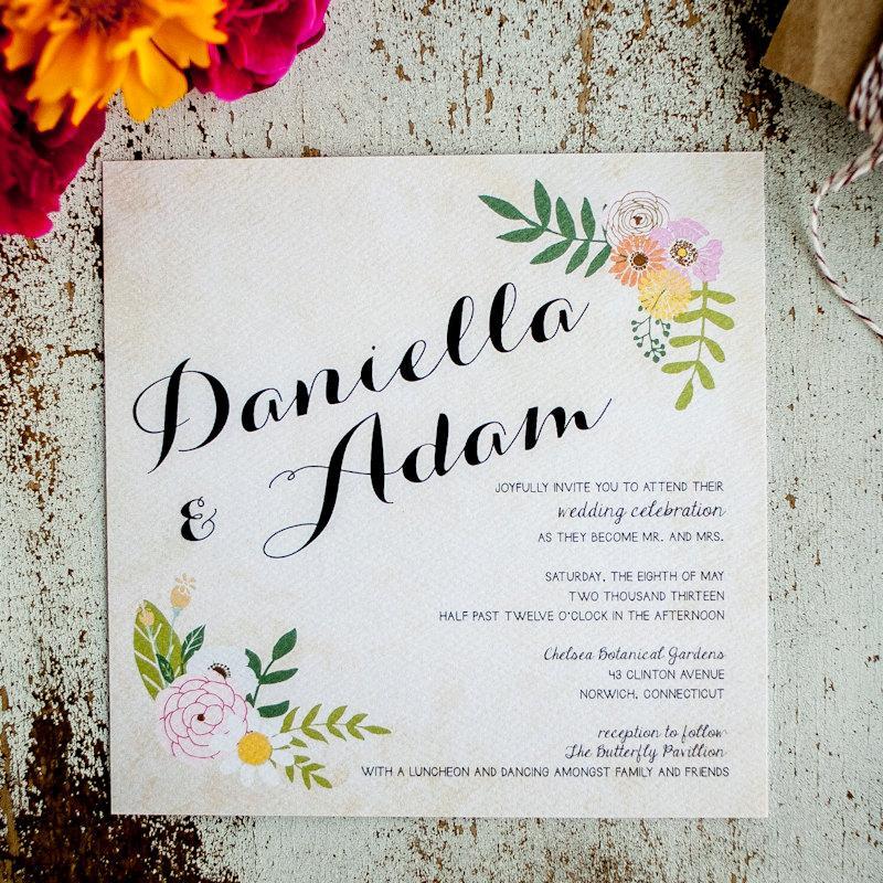 زفاف - Floral Wedding Invitation, Rustic Wedding Invitation - The Daniella - wedding invitation, floral, swag, calligraphy, flowers vintage wedding