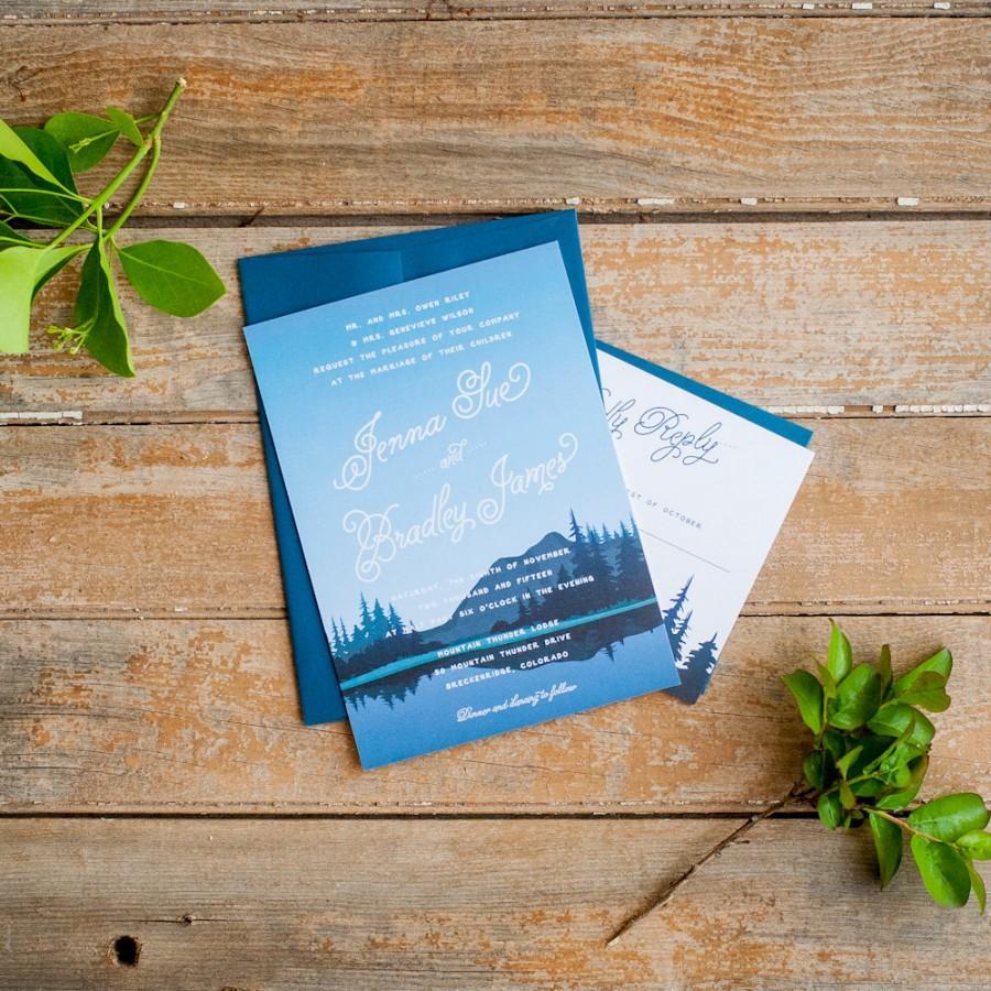 Hochzeit - Wedding Invitation, Mountain Wedding Invitation, Rustic Wedding Invitation, mountains, nature wedding invitation, navy wedding invitations