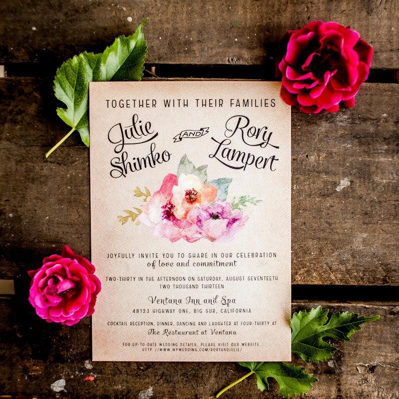 Hochzeit - Wedding Invitation, Vintage Wedding Invitation, Rustic Wedding Invitation, Floral Wedding Invitation, flowers, floral, pink - The Hardy