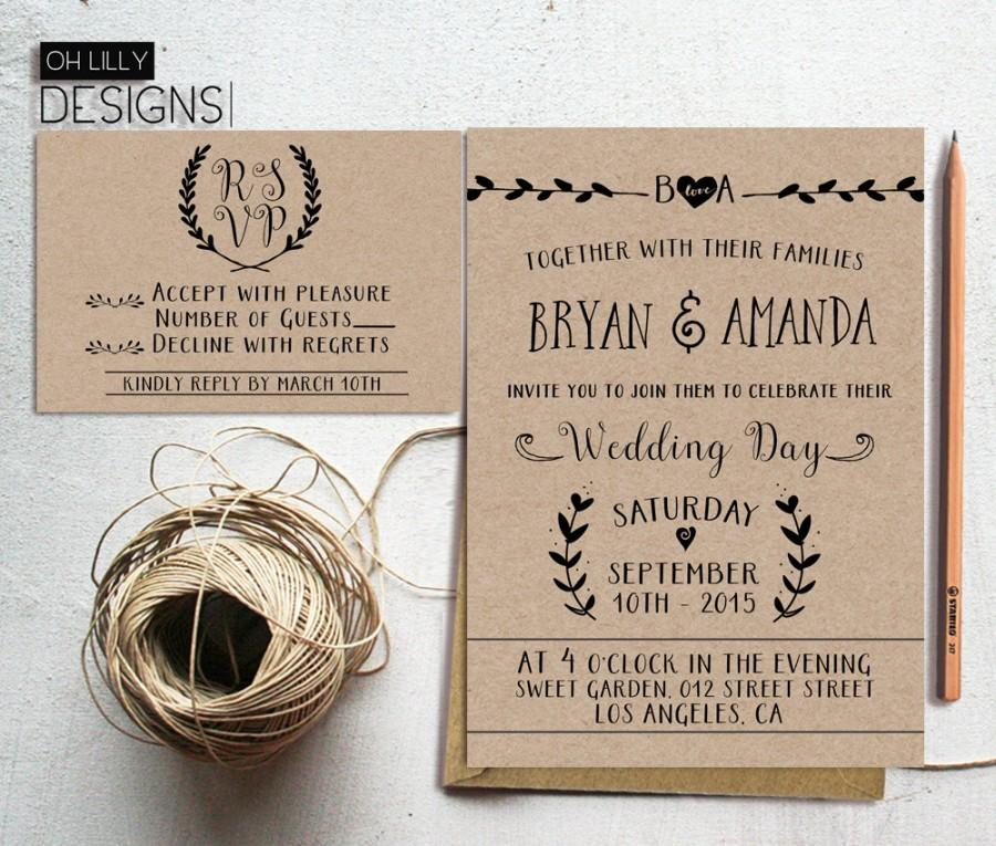 Rustic Wedding Invitation Printable Kraft Paper Rustic Wedding