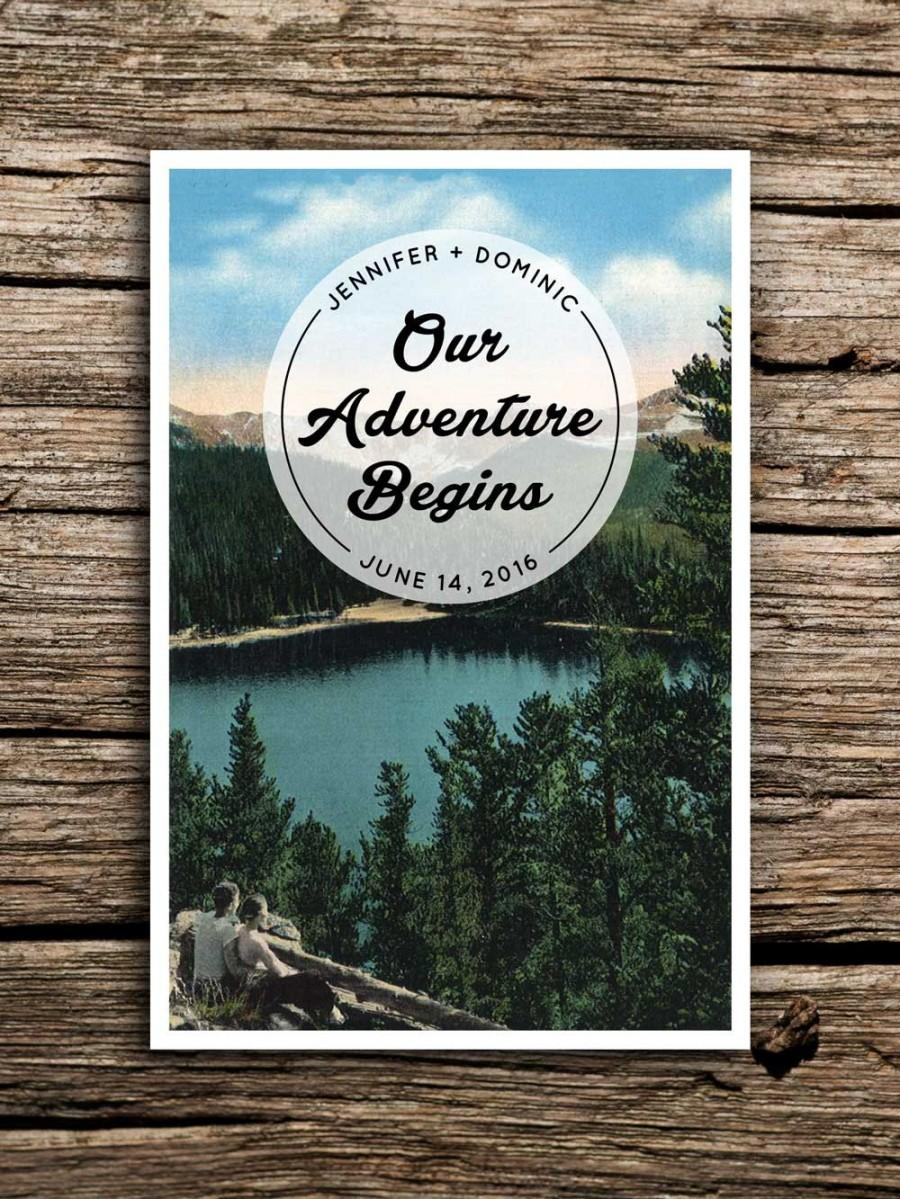 Hochzeit - Adventure Mountain Save the Date Vintage Postcard // Colorado Wedding Lake Save the Date Outdoors Wedding Invitation North Carolina Camp
