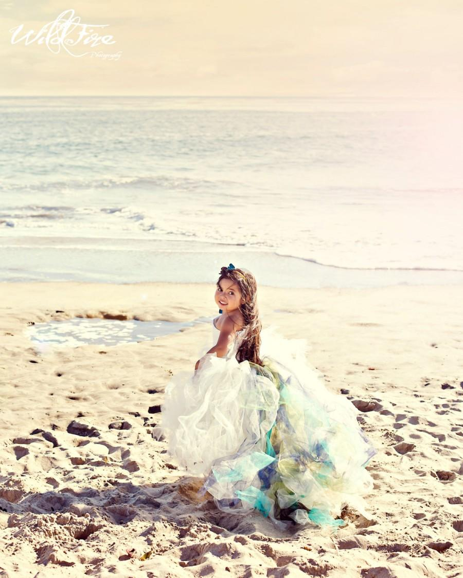 Mariage - Lace Flower Girl Dress--Detachable Color Accented Train--Weddings--Portraits