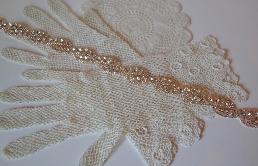 Mariage - Rose Gold Bridesmaid Belt, Rose Gold Wedding Belt, Rhinestone Bridal Sash, Downton Abbey, Rhinestone Bridal Belt, Sparkly Gold Sash