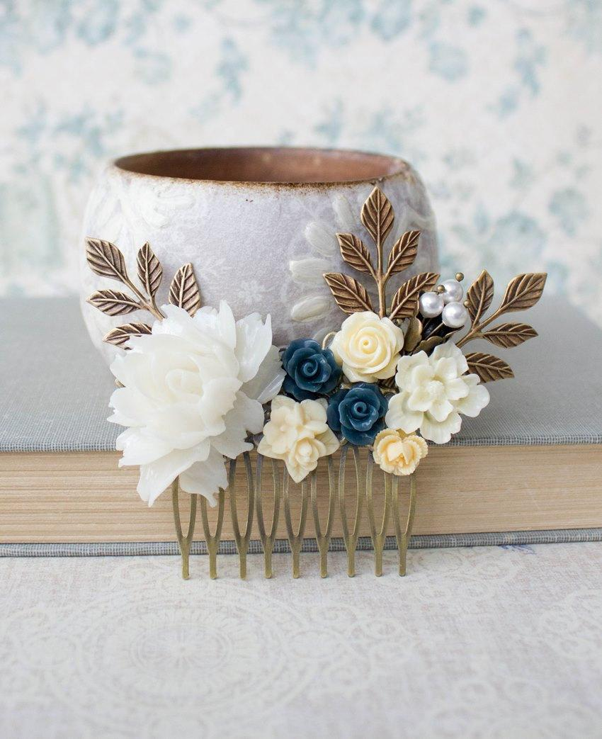 White rose hair comb cream ivory rose comb wedding hair accessories white rose hair comb cream ivory rose comb wedding hair accessories something blue yellow flower comb navy blue rose pearl bridal hair comb izmirmasajfo