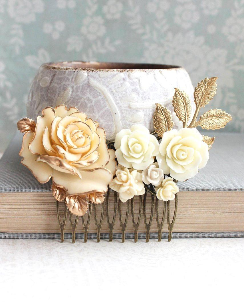 Wedding - Gold Ivory Cream Bridal Hair Comb Vintage Style Romantic Country Chic Wedding Hair Accessory Bridesmaid Gift Floral Hair Piece Leaf Branch