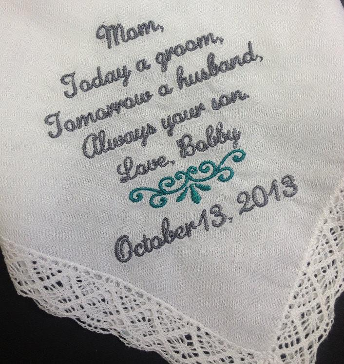 Mariage - MOTHER Of The GROOM Handkerchief Hanky Hankie -  From the GROOM - Mom - MoG - Wedding  - Today A Groom Always Your Son