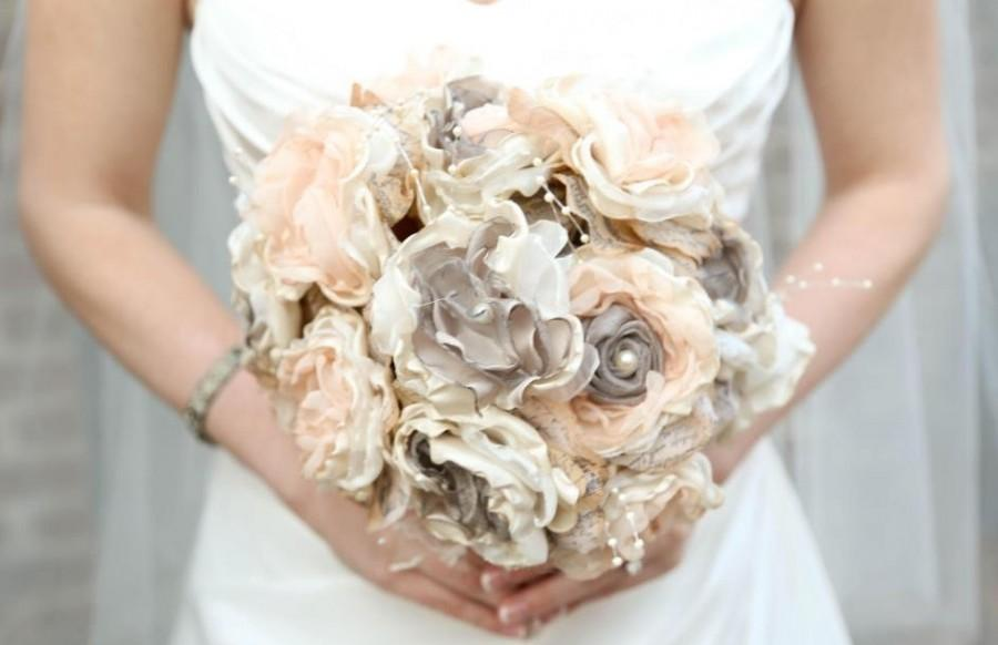 Mariage - Bridal Brooch Bouquet Vintage Fabric Bouquet Gray Soft Coral and Ivory Fabric flower bouquet , alternative bouquet wedding bouquet