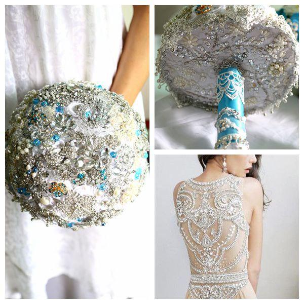 Hochzeit - White Wedding Bouquet,   Bridal Bouquet, Brooch bouquet, jeweled bouquet. broach bouquet,  handmade fabric bouquet,bouquet,customers colors
