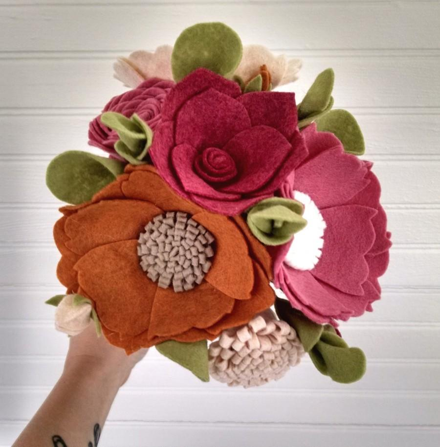 Wedding Bouquet, Wool Felt Flower Bouquet, Flower Arrangement ...