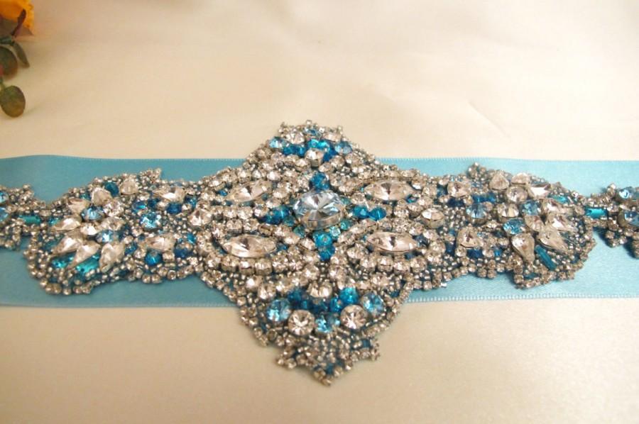 Hochzeit - Turquoise Bridal Rhinestone Crystal Sash Belt Wedding Statement sash Bling Sashes Jeweled Sashes