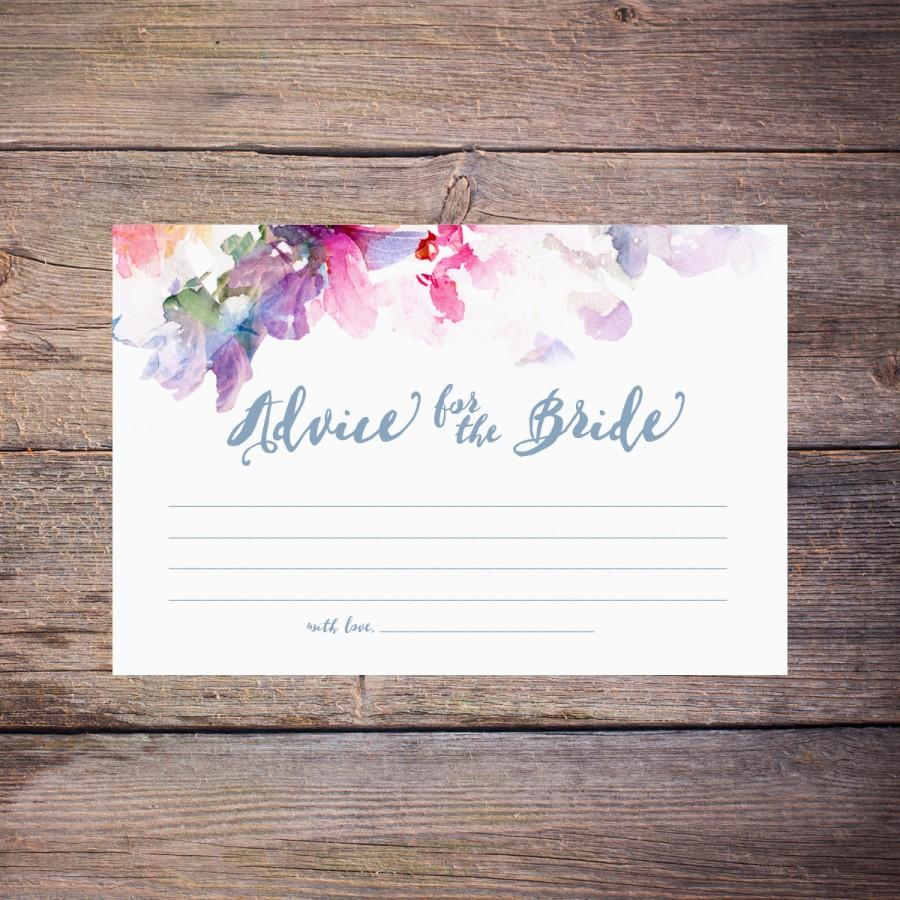 flower watercolor bridal shower advice cards printable floral advice for the bride to be