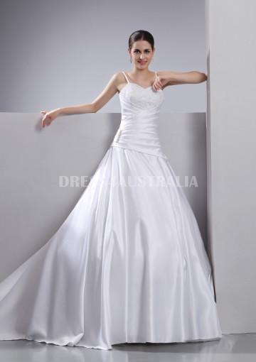 Hochzeit - Buy Australia A-line Spaghetti Straps Appliques Satin Chapel Train V-back Wedding Dresses Gowns at AU$213.19 - Dress4Australia.com.au