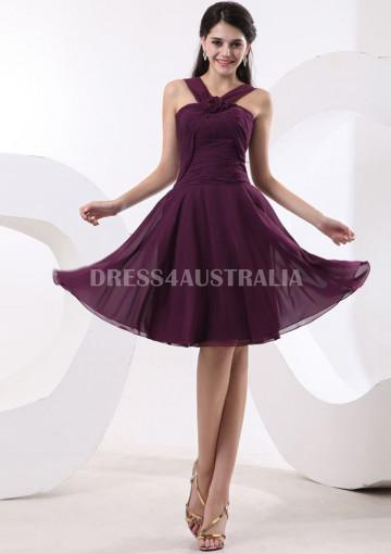Hochzeit - Buy Australia A-line Grape Halter With Flower Chiffon Knee Length Bridesmaid Dresses 8132029 at AU$130.15 - Dress4Australia.com.au