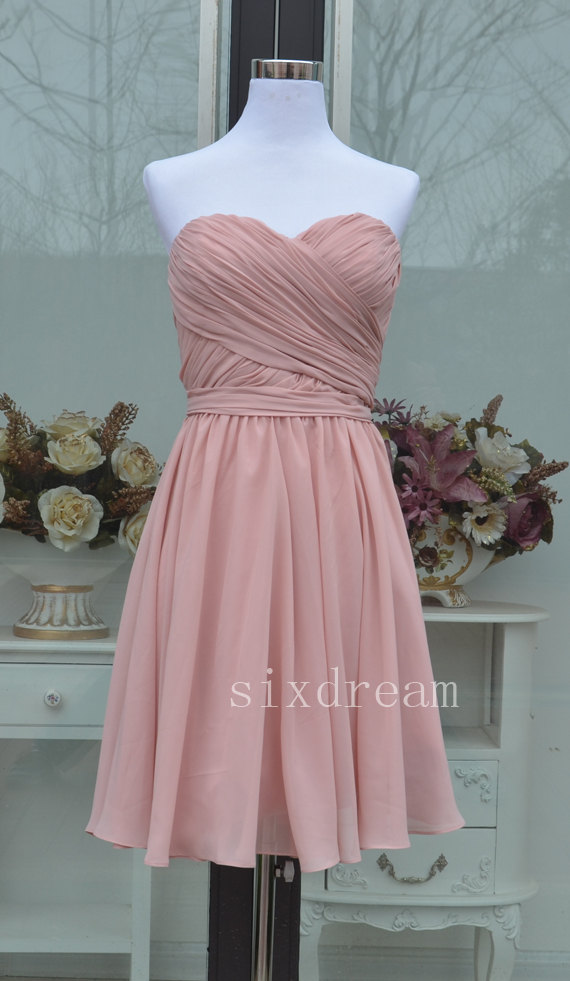 Hochzeit - Short A-line Blush pink Chiffon Bridesmaid Dress