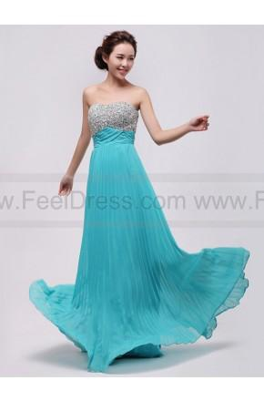 Hochzeit - 2014 Modern spring Strapless Simple Chiffon Bridesmaid/Blue Evening dress/Elegant Party/ Fashionable Beach Dress