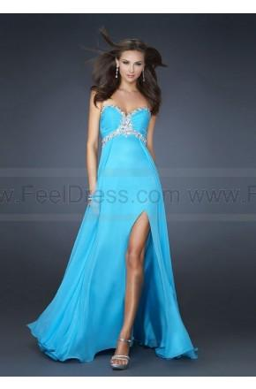 Wedding - Split Front Sweetheart Beaded Blue Prom Gowns