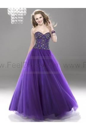 Wedding - Ball Gown Sweetheart Beaded Sequins Grape Prom Dresses