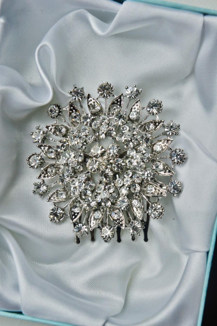 Wedding - Rhinestone Brooch Comb, Big Crystal Brooch Veil Comb, Birdcage Blusher Or Bandeau Choice, Custom Veil