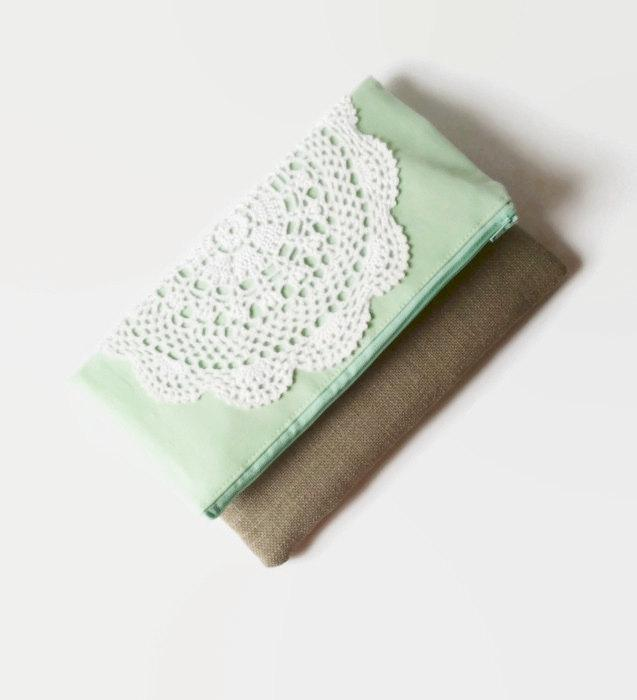 Свадьба - Mint Wedding Clutch Bridesmaid Gift Fold Over Clutch