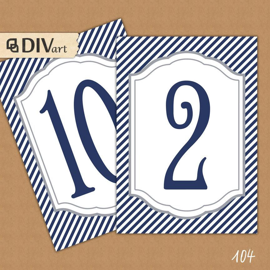 "Mariage - PRINTABLE 5x7"" Table Number Cards, Menu, Program - navy, preppy, nautical - No. 104"