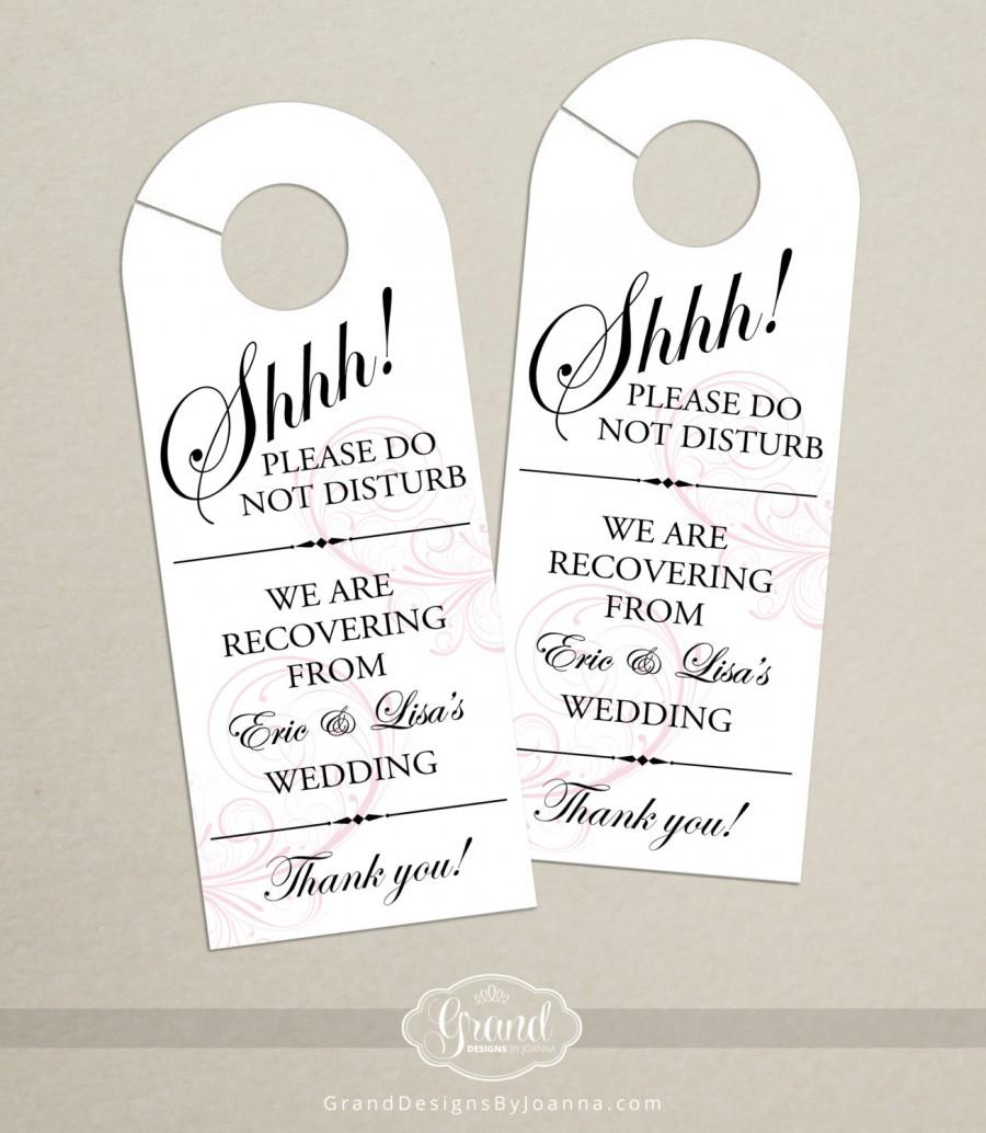 Set Of Classic Swirl Door Hanger For Wedding Hotel Welcome Bag - Hotel door hanger template