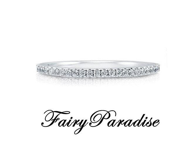 Wedding - Pave Half Eternity Wedding Band, Stacking Layering, 925 silver round cut man made diamonds stackable anniversary ring ( FairyParadise )
