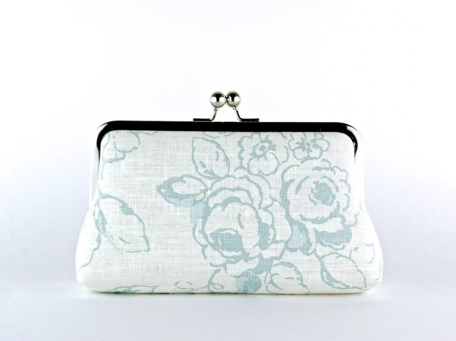 Mariage - Wedding Clutch, Roses in Ice Blue Clutch, Silk Lining, Bridesmaid Gift, Bridesmaid clutch, Ice and Blush collection