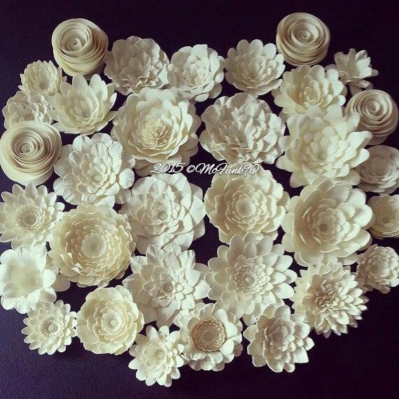 Mariage - Weddings Handmade Paper Flowers 30- 1.5 inch to 2.5 inch flowers in the colors of your choice