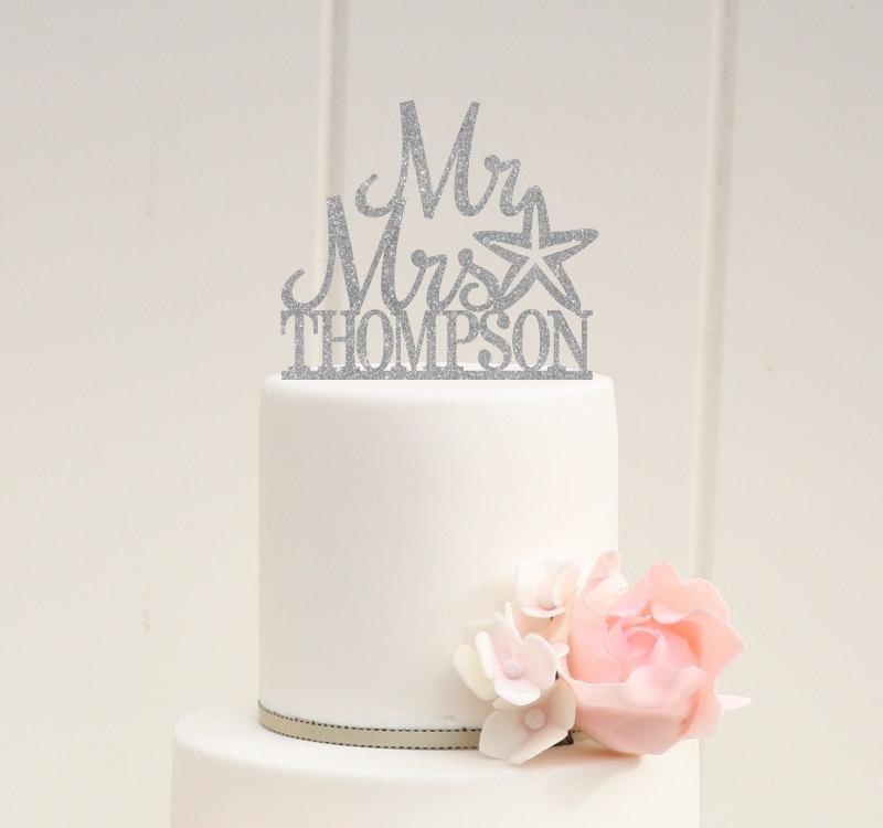 Wedding - Starfish Beach Glitter Wedding Cake Topper Mr and Mrs Topper Design With YOUR Last Name - 0175