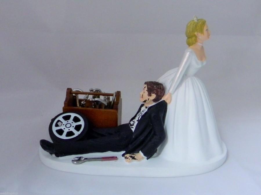 زفاف - Wedding Reception Party Ceremony Grease Shop Car & Truck Mechanic Tools Cake Topper