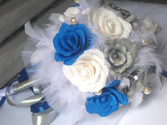 Свадьба - Wedding Bouquet,Bridal Bouquet,Paper Bridal Bouquet,Feathers / Pearls / Silver /Dark Blue Paper Bouquet,Silver Roses Bouquet,Dark Blue Roses