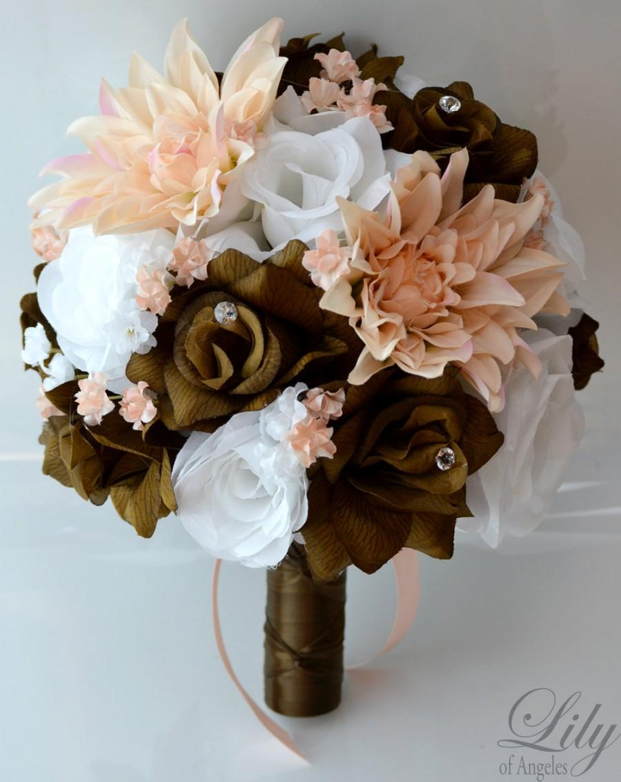 "Wedding - 17 Piece Package Wedding Bouquet Bride Silk Flowers Bridal Party Bouquets Decorations Chocolate BROWN PEACH WHITE ""Lily of Angeles"" BRPI01"
