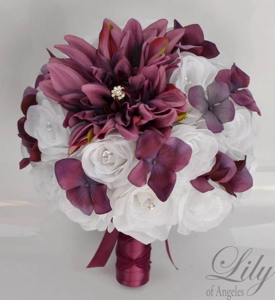 "Mariage - 17 Piece Package Wedding Bouquet Bride Silk Flowers Bridal Party Bouquets Decoration MARSALA SANGRIA BURGUNDY White ""Lily of Angeles"" BUWT01"