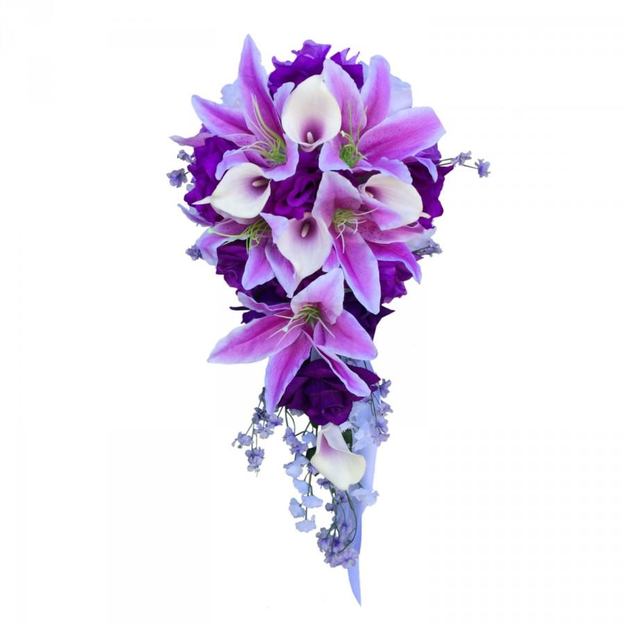 Свадьба - Cascade bouquet&Boutonniere:Shades of purple,lavender,and white