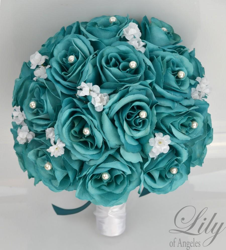 "Hochzeit - 17 Piece Package Bridal Bouquet Wedding Bouquets Silk Flowers Bridesmaid Turquoise Aqua Emerald GREEN TEAL WHITE ""Lily of Angeles"" TETE01"