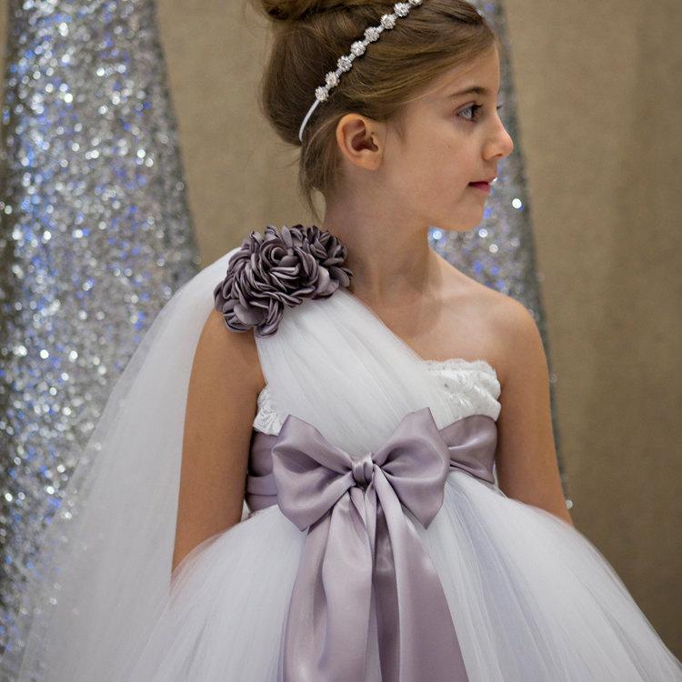 Hochzeit - vintage white flower girl dress, baby dress, satin dress, grey dress, grey satin dress, white flower girl dress, wedding, bridesmaid dresses