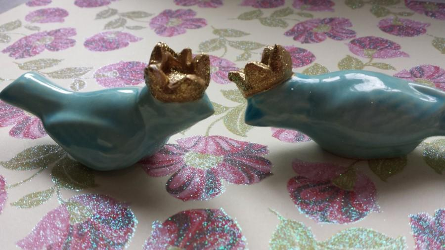 Mariage - Wedding Cake Topper  Birds  With Crowns Vintage Ceramic in Aqua Home Decor