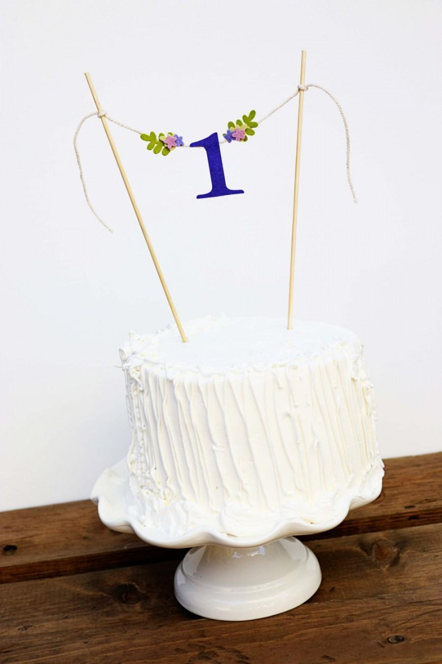 First Birthday Cake Banner One Purple Topper Bunting Hues
