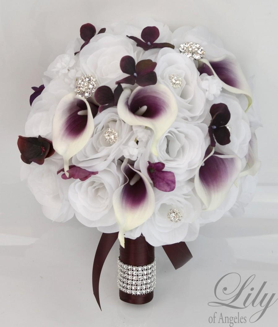 17 Piece Package Bridal Bouquet Wedding Bouquets Silk Flowers Bride ...