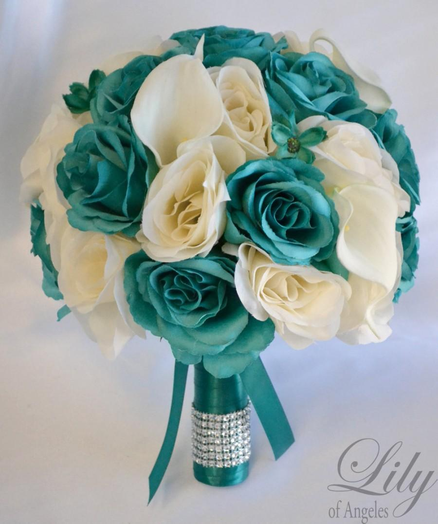 17 piece package bridal bouquet wedding bouquets silk flowers 17 piece package bridal bouquet wedding bouquets silk flowers bridesmaid bride calla lily emerald green teal ivory lily of angeles teiv01 izmirmasajfo