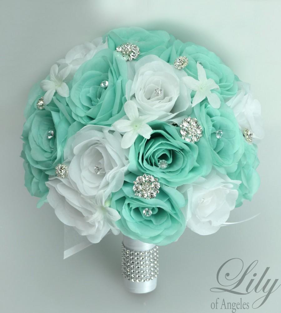17 Piece Package Wedding Bridal Bouquet Silk Flowers Bouquets ...