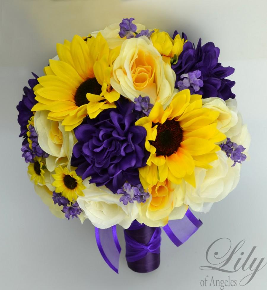 17 piece package wedding bridal bouquet silk flowers bouquets 17 piece package wedding bridal bouquet silk flowers bouquets artificial flower bride sunflower purple yellow ivory lily of angeles puye02 dhlflorist Image collections
