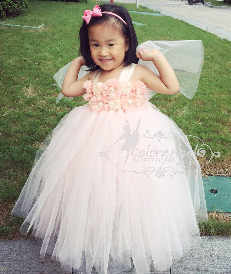 c6d96ea503d Blush Peach Flower girl dress Baby girl s Flowers Dress Tulle Dress Wedding  Dress Birthday Dress Toddler Handmade Tutu Dress 1t -8t
